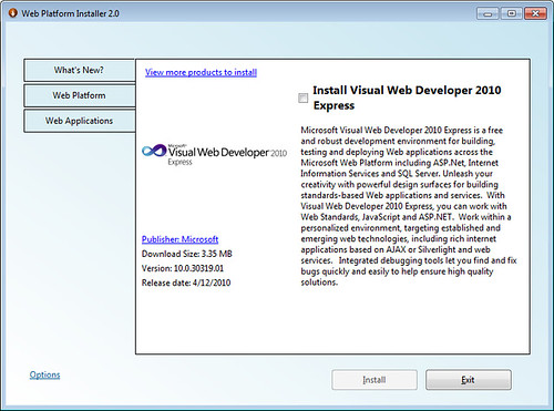 Visual Web Developer 2010 Express - Web PI