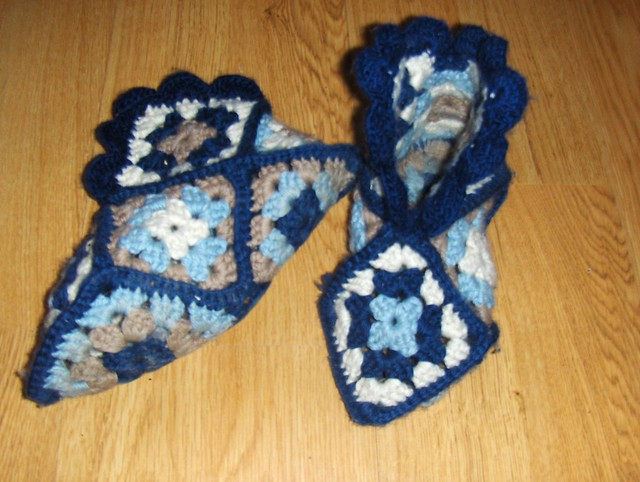 Whit's Knits: Granny Square Slippers - Knitting Crochet Sewing