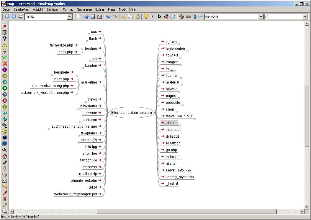 Sitemap mit Freemind