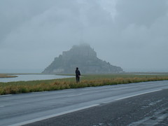 Le Mont St. Michel on a wet morning