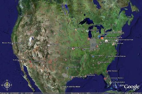 NFL Stadiums - Google Earth