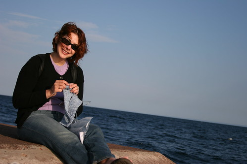 knitting my sockapaltwoza socks at the end of the breakwater