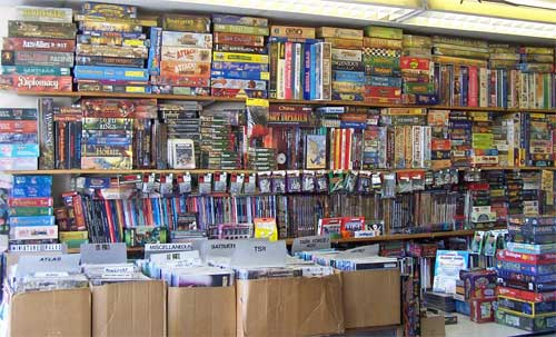 wall of boardgames