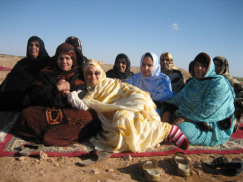 Happy with her friends, Sahrawi women
