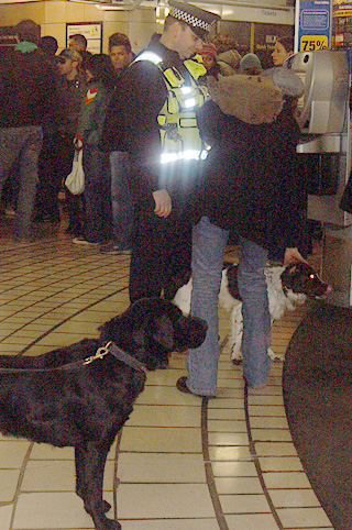 Transport Police at Leicester Square Tube Station with Dogs
