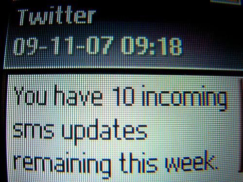 Warning re limited inbound Twitter txts