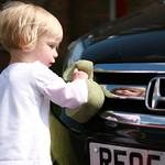 Washing Daddy's car<br/>19 May 2007