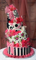 Pink and Black Crooked Cake photo by sharoncakes