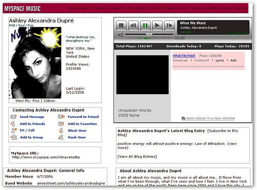 Kristen MySpace Profile