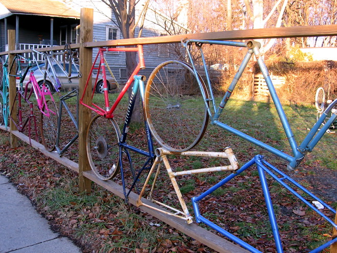 Bicycle fence photo by Sandy Su