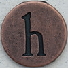 Copper Lowercase Letter h