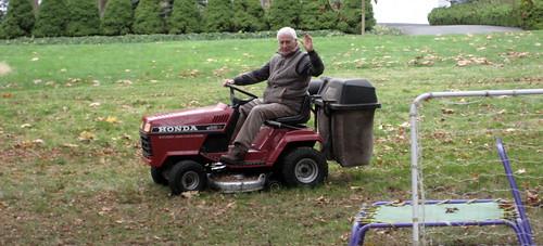 strange man on a tractor