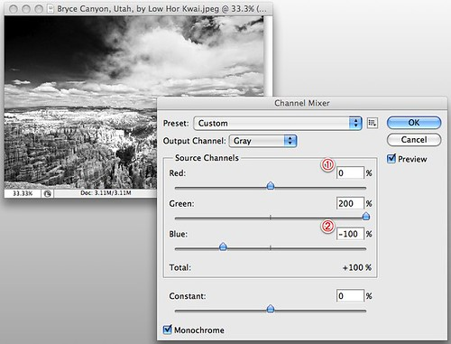 Photoshop infrared conversion tutorial -- Channel Mixer values for whiter clouds and a darker blue sky