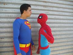superman v.s. spiderman photo by chande legion