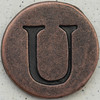 Copper Uppercase Letter U