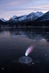 Methane gas (swamp gas) photo by Geir Drabløs