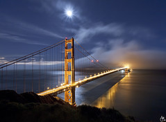 Moon over the Golden Gate Bridge - San Francisco, CA photo by JaveFoto