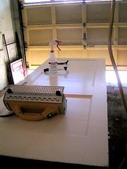 stripping setup in garage