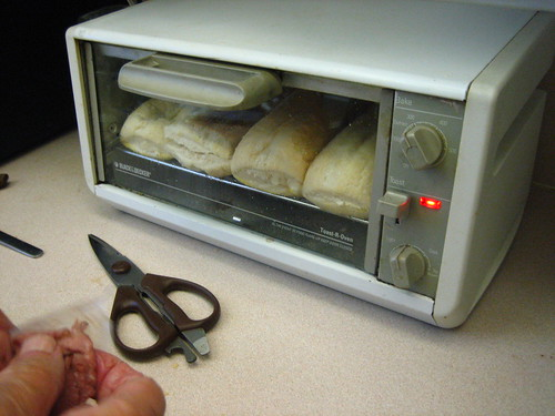 Turano bread toasting in the toaster