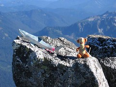 TNAB shark and Trail Tigger take a break on the summit