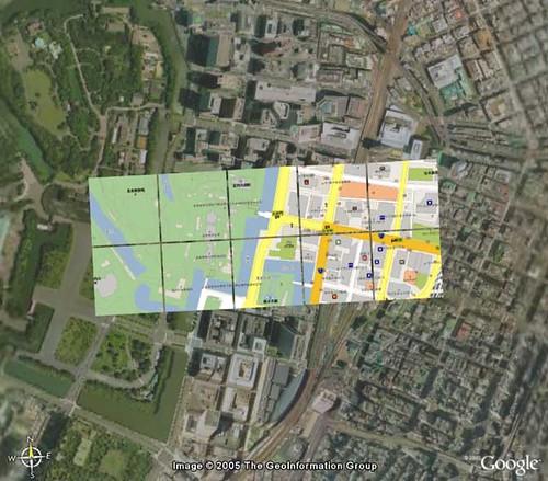 GoogleMaps Overlay on Google Earth - Tokyo Station