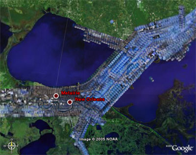 Google Earth - NOAA Server for Katrina Satellite Images