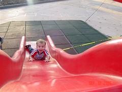 Drewbie down the slide