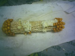 Popcorn on the cob eaten