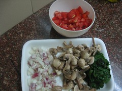 Chopping for Spaghetti with Spinach and Mushrooms