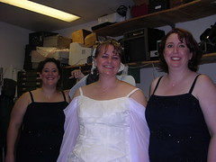 Three happy girls waiting for the wedding