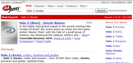 Smart search for Halo 2 cheats