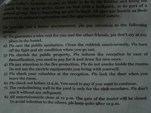 Hostel Instructions
