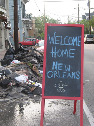 Welcome home sign, outside Creole Creamery, Prytania St.