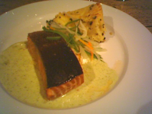 Salmon and some form of morel with with potato