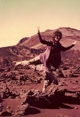 Alicia dancing in Haleakala volcano, Maui, 1976.