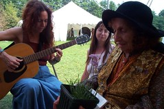 Alicia serenades legendary herbalist Juliette de Bairacli-Levy at the New England Womens Herbal Conference, August, 2000.