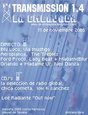 Flyer Transmision 1.4 de La Embajada