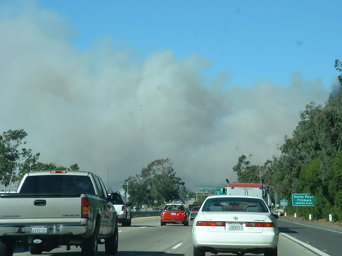 driving into the smoke in Ventura