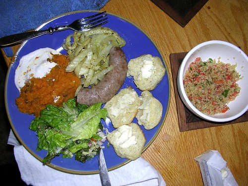 roast fennel, celery sausage, dinner rolls, chopped salad, sweet potato smush, and tabouleh