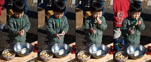 rihito just couldn't wait for a taste of the mochi