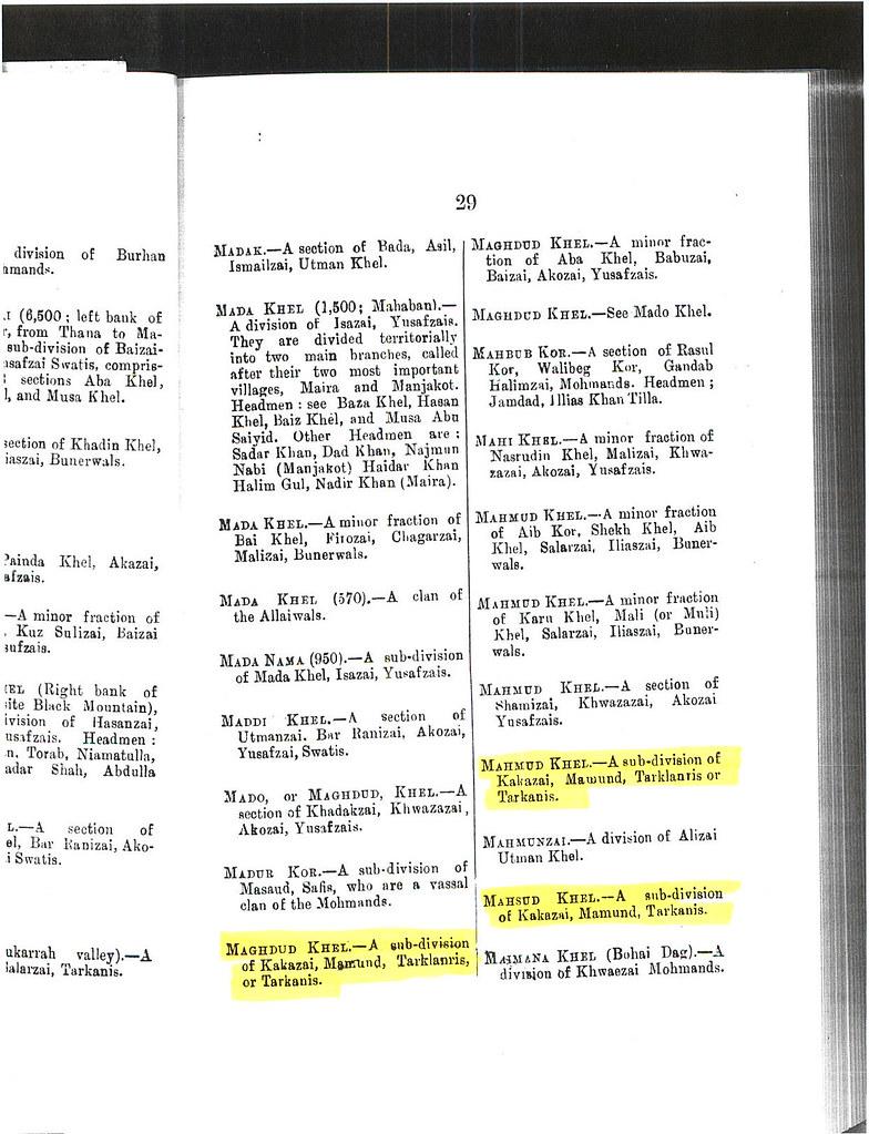 Maghdud Khel, Mahmud Khel and Mahsud Khel - Sub-divisions of Kakazai Pathans - Page 29 from