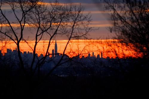 sunrise over the city