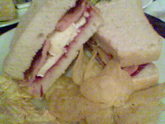 Bacon, brie and cranberry sandwich