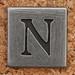 Pewter Uppercase Letter N