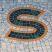 S green orange and blue tile mosaic