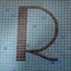 R brown and blue mosaic tile