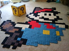 Question Mark Block Ottoman & Raccoon Mario Rug (Daytime) photo by anenemyairship