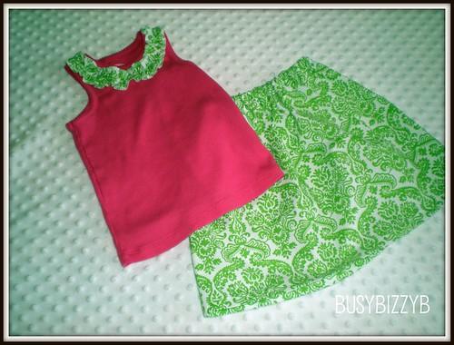 pink/green ruffle tank & skirt 1