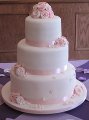Pink Roses Wedding Cake - Front View photo by creativecupcakes