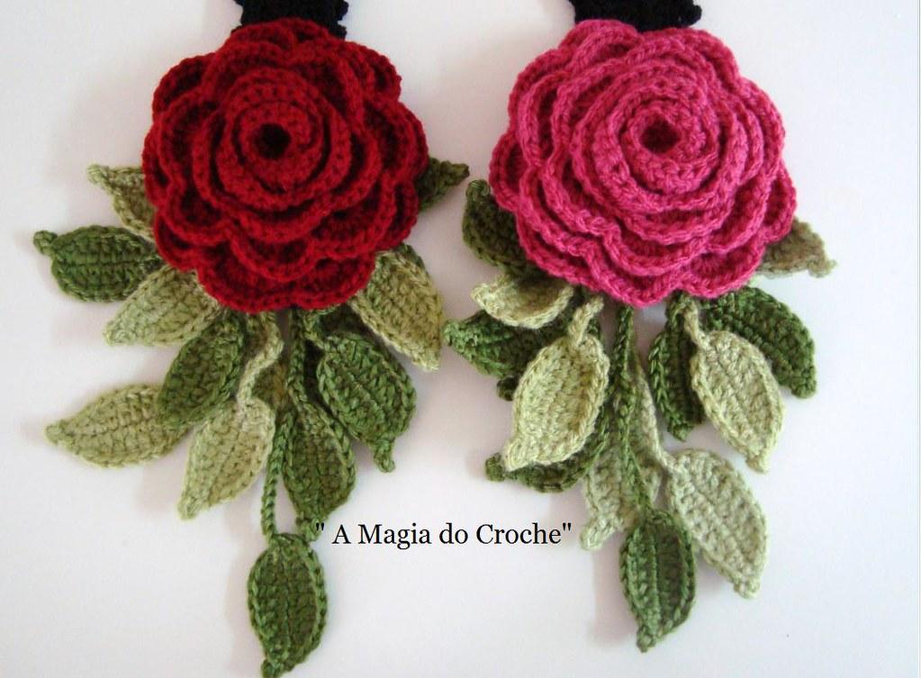 Rosas e folhas photo by A magia do crochê